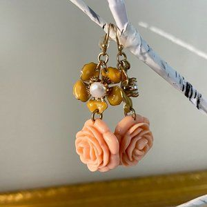 Coral Rose, Faux Pearl, Gold Tone, Floral Earrings